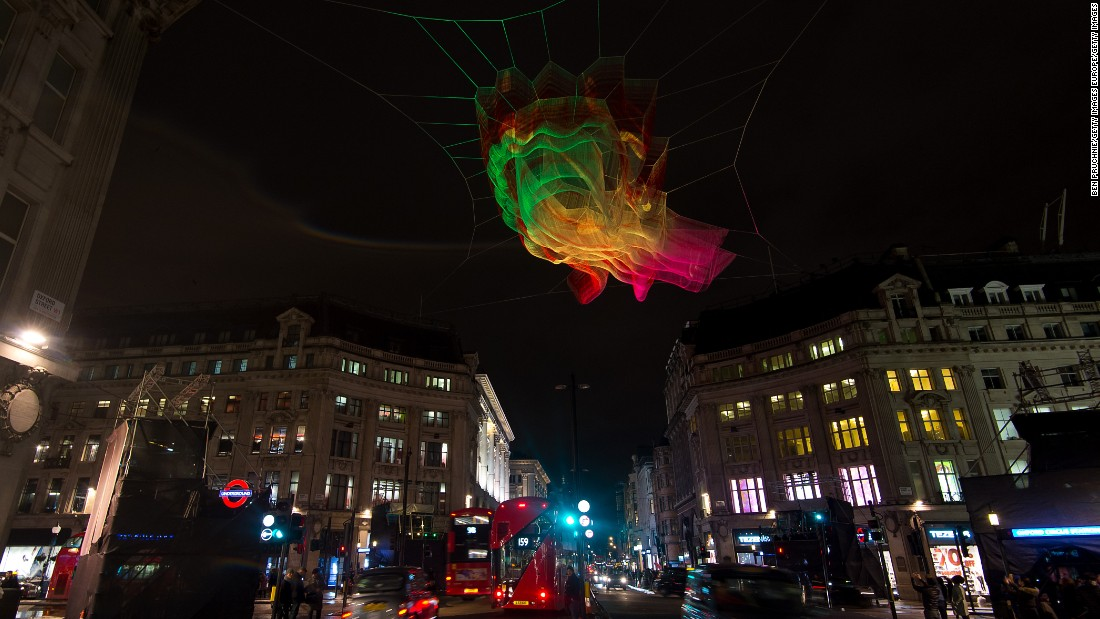 "A four-day light festival kicked off in the English capital on January 2016, and features the work of 30 global artists. One highlight is the ""1.8 London"" structure by American artist Janet Echelman, which is constructed using fishing nets and suspended above Oxford Circus."