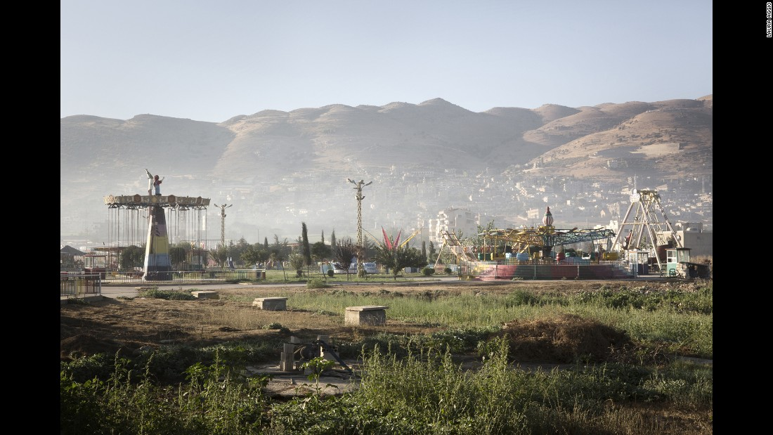 A playground near a refugee camp in the Bekaa Valley.
