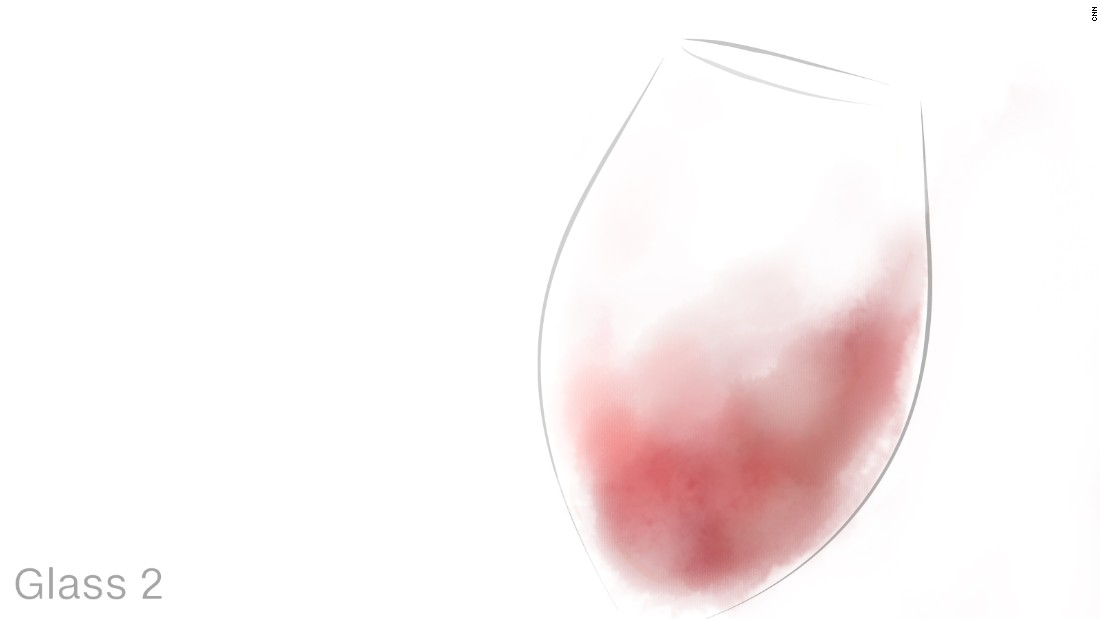 In glass two, Riedel says, the same Pinot Noir will taste noticeably fruitier and sweeter.