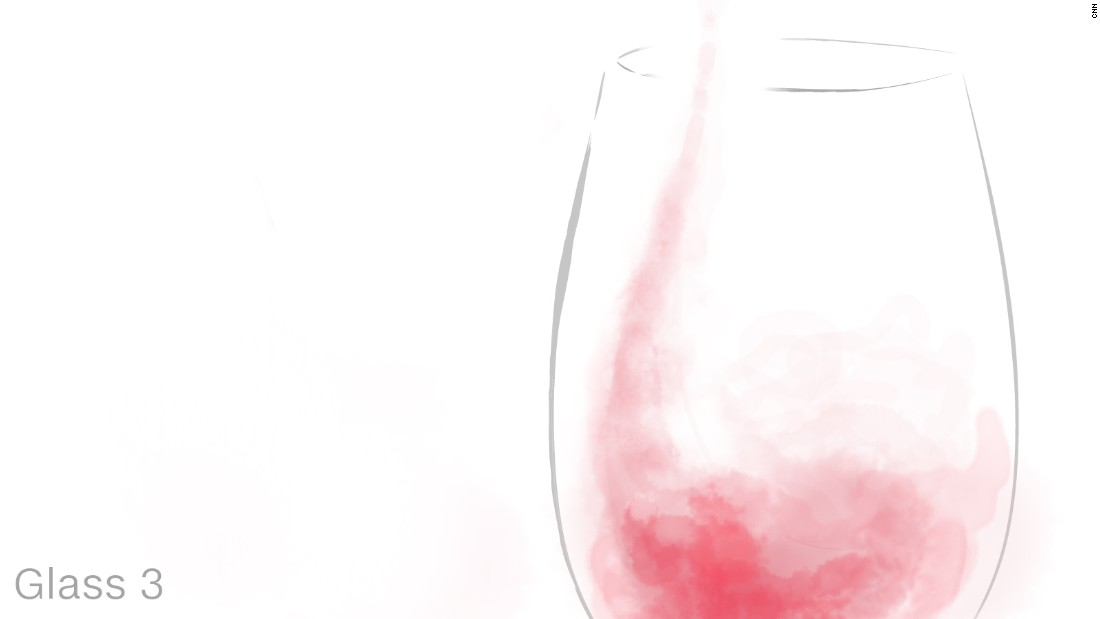 The same Pinot Noir drunk from glass three tastes spicier. It has an almost burning sensation which, Riedel explains, is the minerality of the wine's flavor profile coming through.