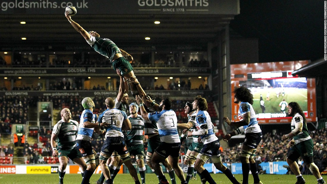 Graham Kitchener wins a lineout for the Leicester Tigers during the English club's match against Benetton Treviso on Saturday, January 16. Leicester defeated its Italian opponents 47-7 to clinch a spot in the quarterfinals of the European Champions Cup.