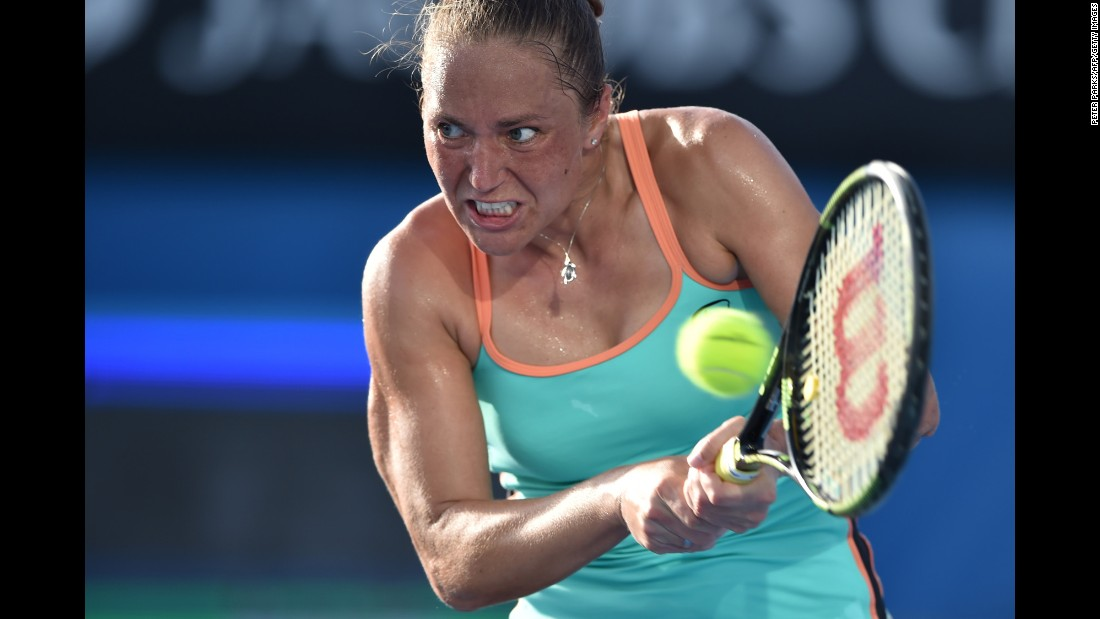 Kateryna Bondarenko hits a return during a first-round match at the Australian Open on Monday, January 18. She defeated Ajla Tomljanovic in straight sets.