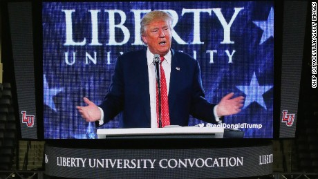 Republican presidential candidate Donald Trump delivers the convocation at the Vines Center on the campus of Liberty University  January 18, 2016 in Lynchburg, Virginia.