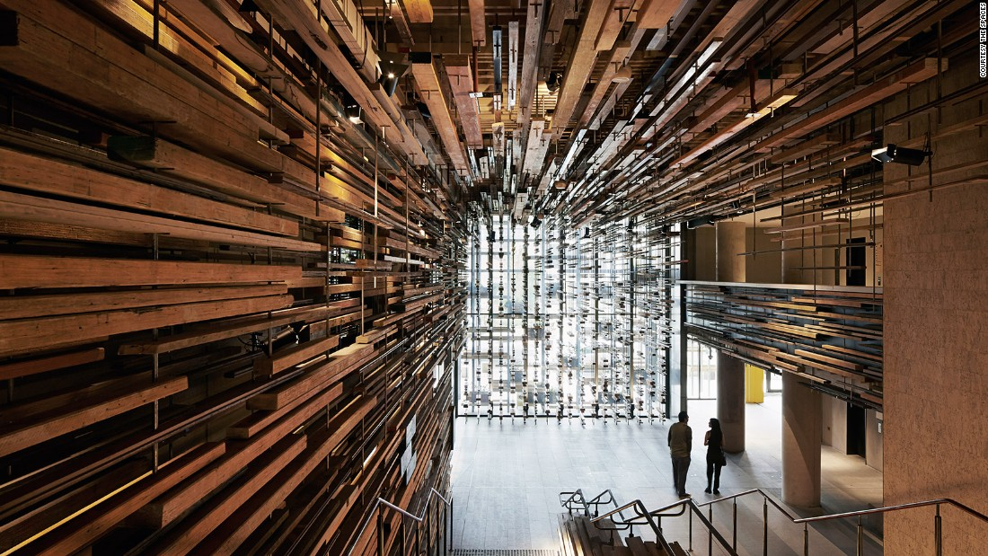 The sculptural timber lobby at Hotel Hotel -- winner of World Interior of the Year -- in Canberra, Australia was designed by March Studio. More than 5000 wood offcuts are fixed to the walls.