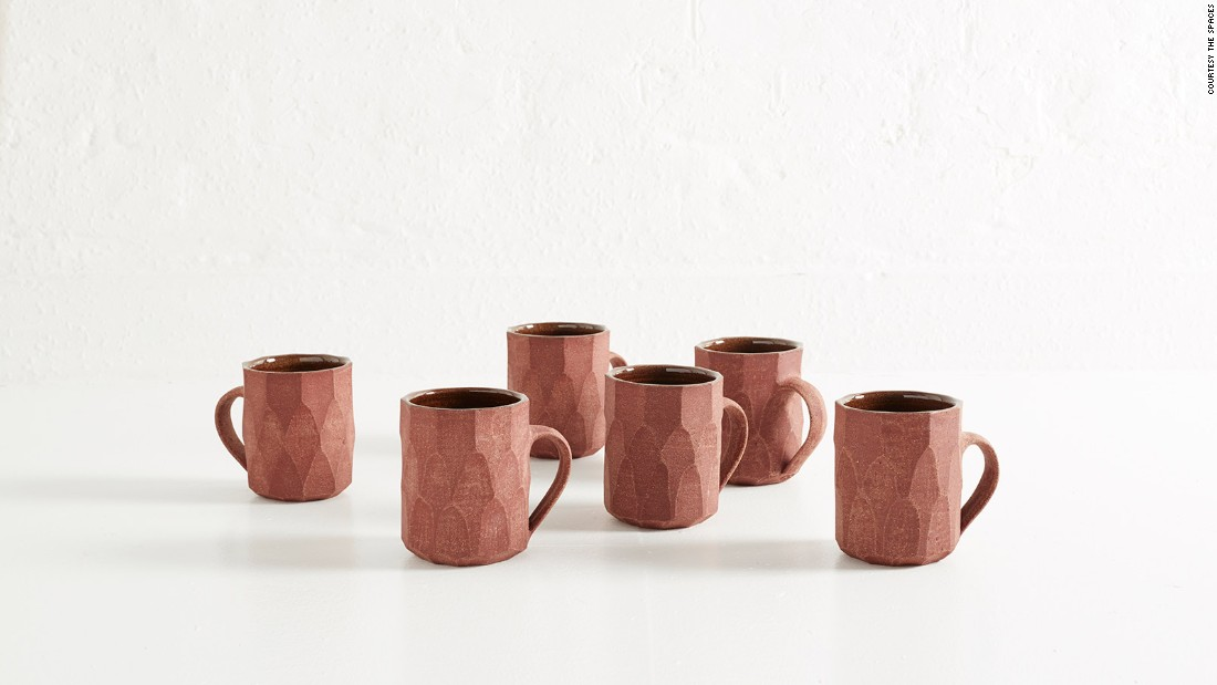 Nicola Tassie's Faceted Collection of stone jugs and mugs make morning coffee a little more interesting.