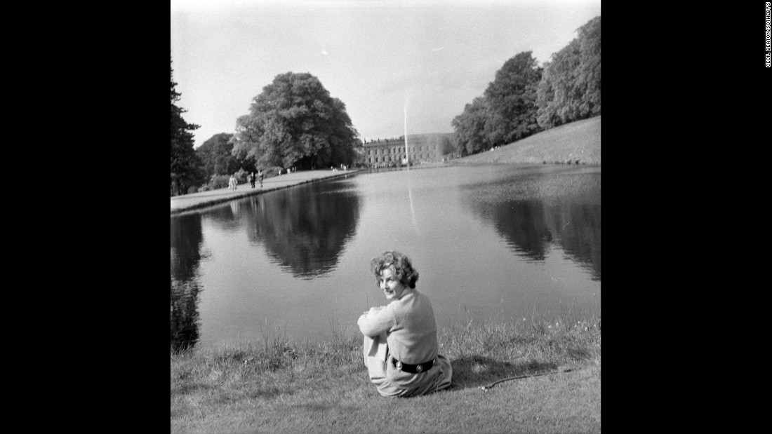 The restoration of Chatsworth House and its garden became Devonshire's life's work. Here, she sits at the end of the estate's Canal Pond. <br />