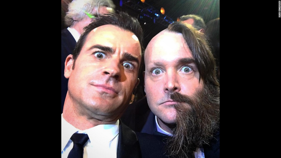 """Always awkward bumping into Will Forte,"" <a href=""https://www.instagram.com/p/BAqp6RLw4mM/"" target=""_blank"">actor Justin Theroux said on Instagram</a> on Sunday, January 17. ""Half the time he's so sweet. The other half he acts like a total psycho."""