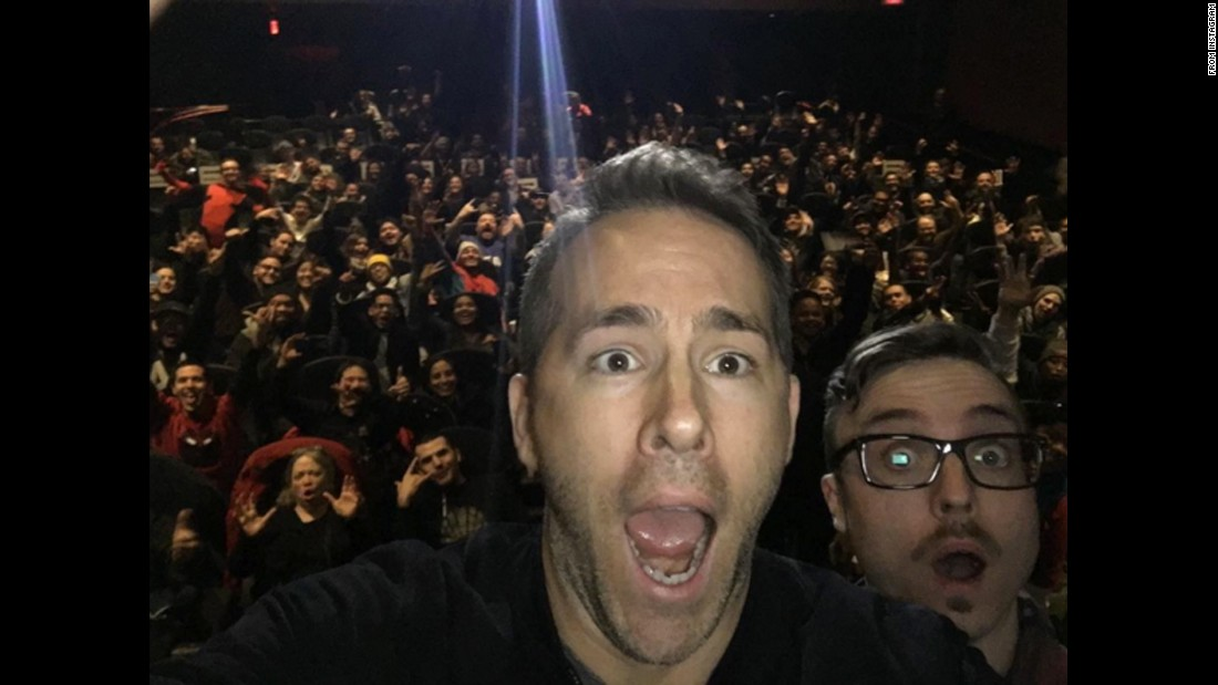 "Actor Ryan Reynolds, left, <a href=""https://www.instagram.com/p/BAtXfWAt_nX/"" target=""_blank"">takes a selfie</a> with YouTube personality Kevin Lieber at a surprise screening of ""Deadpool"" on Tuesday, January 19."