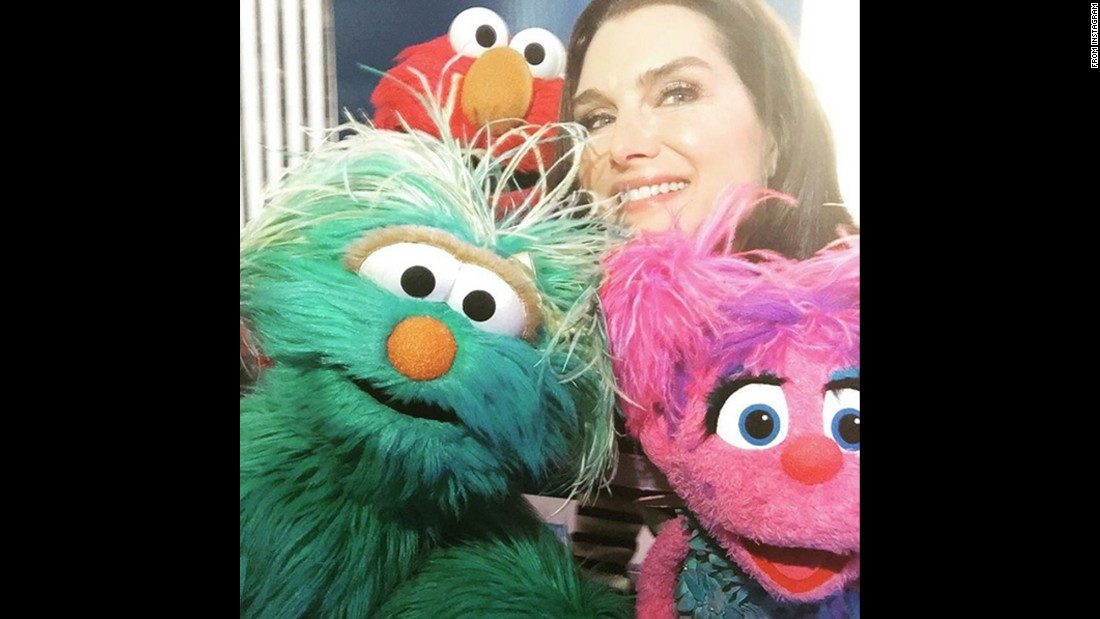 "Actress Brooke Shields takes a selfie with ""Sesame Street"" characters while visiting the studios of Sirius XM on Wednesday, January 13. ""You never know who you'll bump into visiting @siriusxm,"" <a href=""https://www.instagram.com/p/BAfLiJhzdSj/"" target=""_blank"">she said on Instagram.</a>"