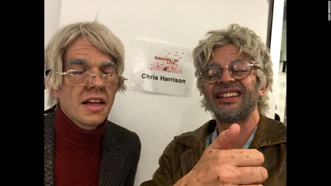 "Comedians John Mulaney, left, and Nick Kroll <a href=""https://www.instagram.com/p/BAtH-xGuUvE/"" target=""_blank"">take a selfie as their ""Oh, Hello"" characters George and Gil</a> before appearing on ""The Bachelor Live"" on Monday, January 18."