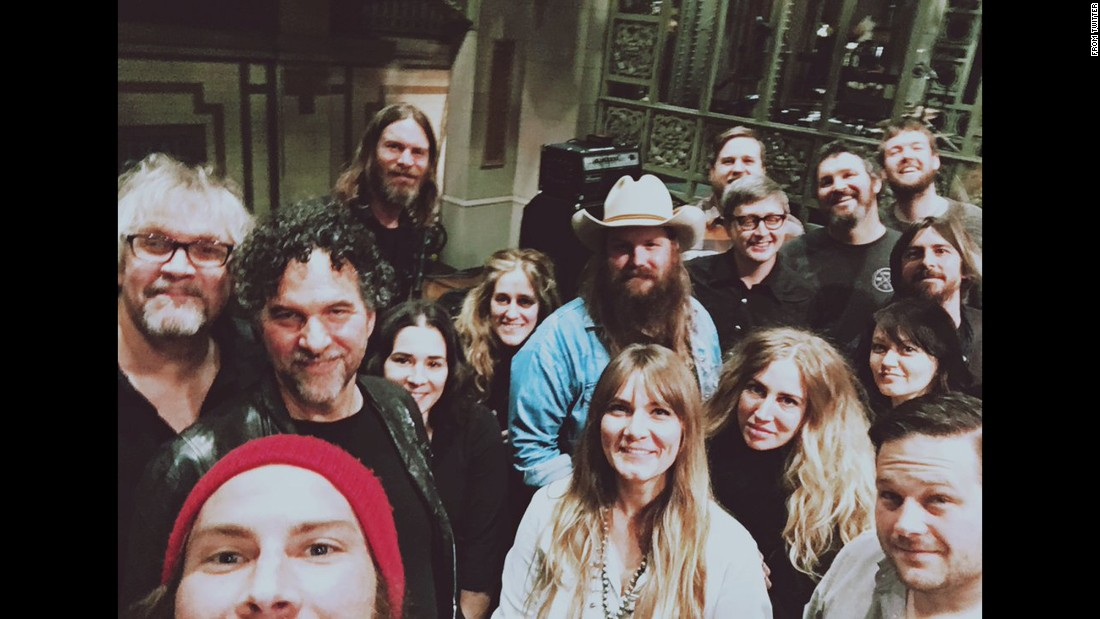 """Saturday Night Live"" <a href=""https://twitter.com/nbcsnl/status/687784060152901633"" target=""_blank"">tweeted this ""soundcheck selfie""</a> with country singer Chris Stapleton on Thursday, January 14. Stapleton, wearing the cowboy hat, was the show's musical guest that week."