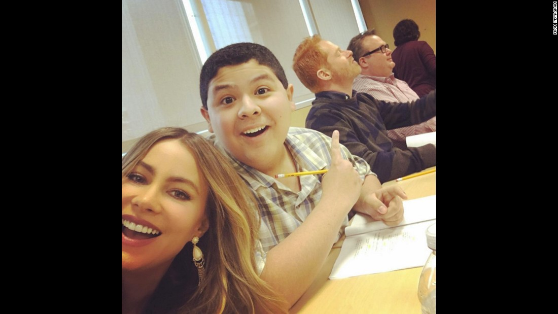 "Actress Sofia Vergara takes a selfie with Rico Rodriguez and other members of the ""Modern Family"" cast on Wednesday, January 13. ""First table read of 2016,"" <a href=""https://www.instagram.com/p/BAfieFILpXw/"" target=""_blank"">Vergara said on Instagram.</a>"