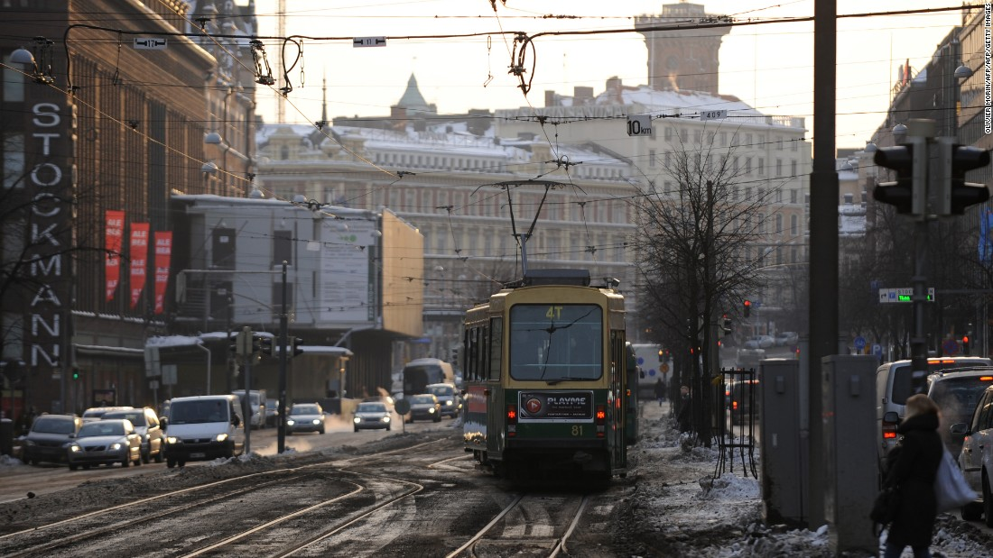 A tram passes through central Helsinki, Finland. Many young people have struggled to keep up with the rental housing market in the Finish capital in recent years.