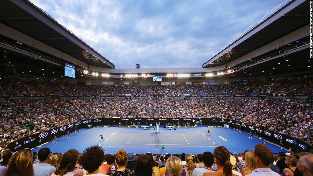 Spectators at the Rod Laver Arena take in the all-Australian clash between Lleyton Hewitt and James Duckworth. Hewitt claimed a 7-6 6-2 6-4 victory.