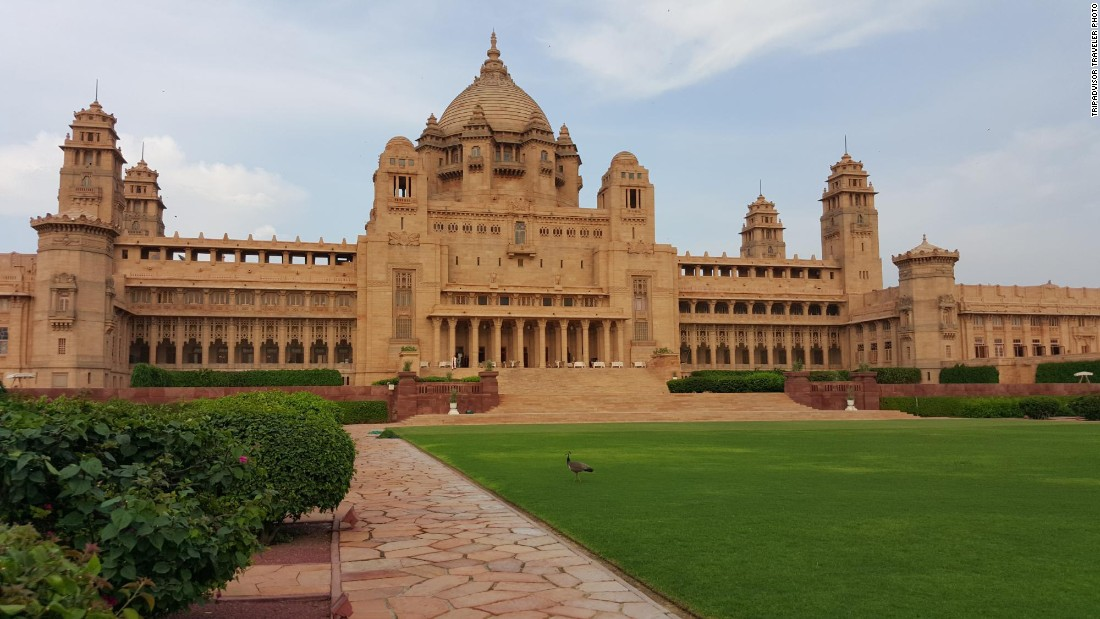 Built for Maharaja Umaid Singh between 1928 and 1943, part of this palace in Jodhpur, India, now houses a hotel. TripAdvisor ranked the Umaid Bhawan Palace No. 1 on its Travelers' Choice list of global hotels.