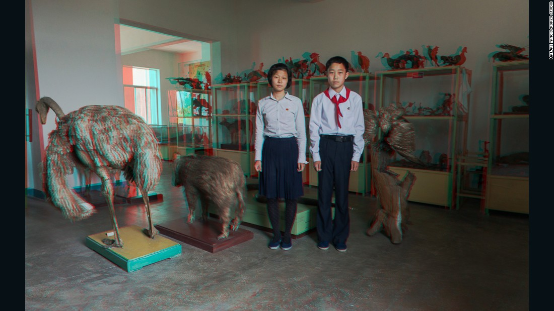 """Two kids in a biology classroom with all the taxidermy animals - it was just an amazing place, amazing natural light coming from the windows, great shot."""