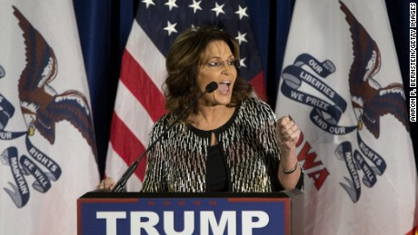 AMES, IA - JANUARY 19:   Former Alaska Gov. Sarah Palin speaks at Hansen Agriculture Student Learning Center at Iowa State University on January 19, 2016 in Ames, IA.