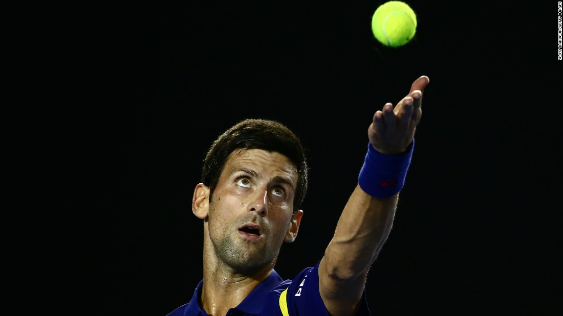 Serbia's Novac Djokovic took on Quentin Halys, defeating the Frenchman 6-1 6-2 7-6(3).