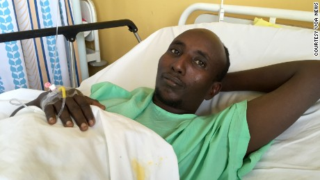 Salah Farah, seen here after Al-Shabaab militants shot him during a bus attack in Kenya, died Monday during surgery.