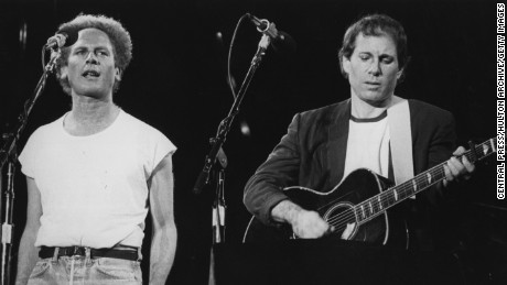 Folk pop duo Art Garfunkel and Paul Simon, playing in front of more than 50,000 people in Madrid, at the start of their European tour.