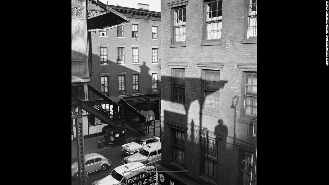 This image, taken in 1955, shows Maier's shadow cast upon the wall of a building. Her self-portraits are literally and metaphorically self-reflexive, often doused with not only light but also an aura of confusion and wonder.