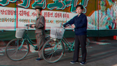 Tančič's image of cyclists in Pyongyang