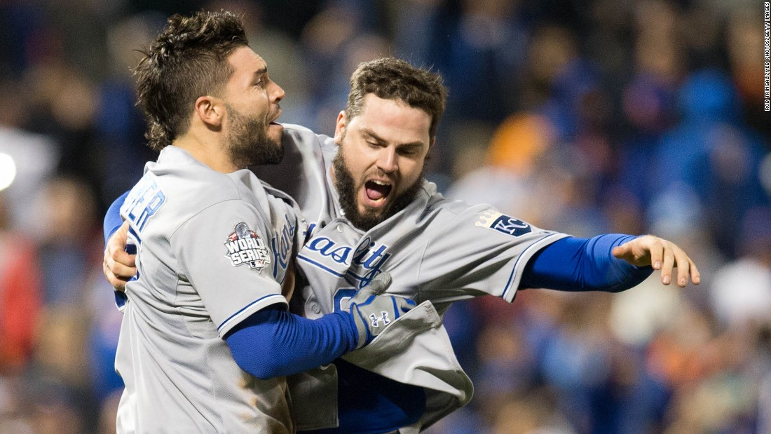 Yes, it seems there's a day of observance for everything. But National Hug Day, which some cuddly folks like to celebrate on January 21, is a chance to spread love around. Here Mike Moustakas, right, and Eric Hosmer of the Kansas City Royals celebrate after winning  the World Series last November. Click through the gallery for other notable examples of folks hugging it out.