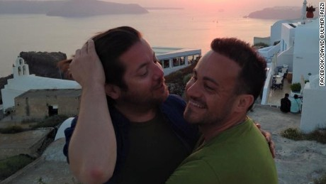 David Bulmer-Rizzi, left, and husband Marco Bulmer-Rizzi. David died in a fall on their honeymoon.