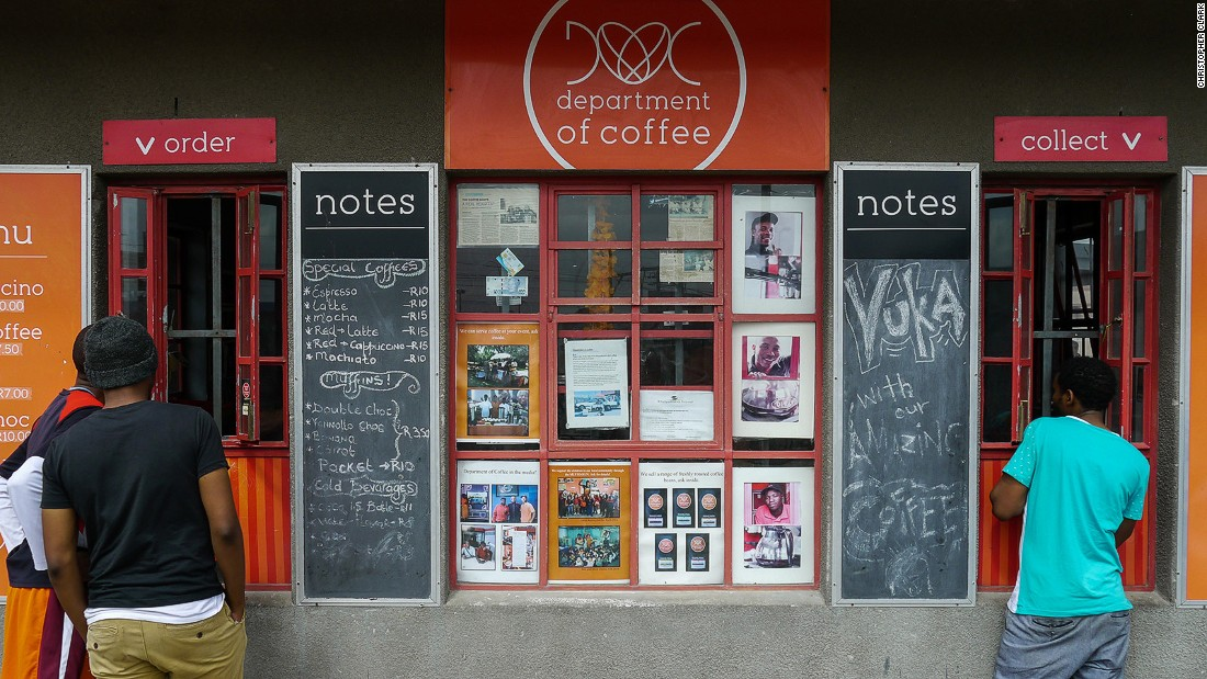 Department of Coffee, which opened in Khayelitsha in 2012, was the township's first artisan-style coffee shop. The cafe is the brainchild of friends Wongama Baleni, Vusumzi Mamile and Vuyile Msaku.