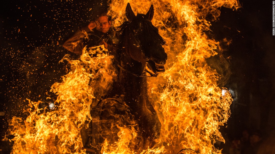 A horseman jumps over a bonfire Saturday, January 16, during the annual Las Luminarias festival in San Bartolome de Pinares, Spain. In honor of Anthony the Abbot, the patron saint of animals, horses are traditionally ridden through bonfires to purify and protect them in the year ahead.