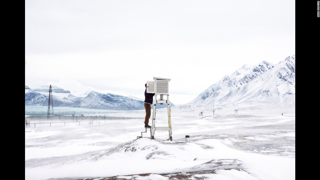A person prepares tools to gather data at the Ny-Ålesund research station, which is on the Norwegian island of Svalbard close to the North Pole. Photographer Anna Filipova spent a month at the station, where scientists are measuring environmental conditions to learn more about climate change.
