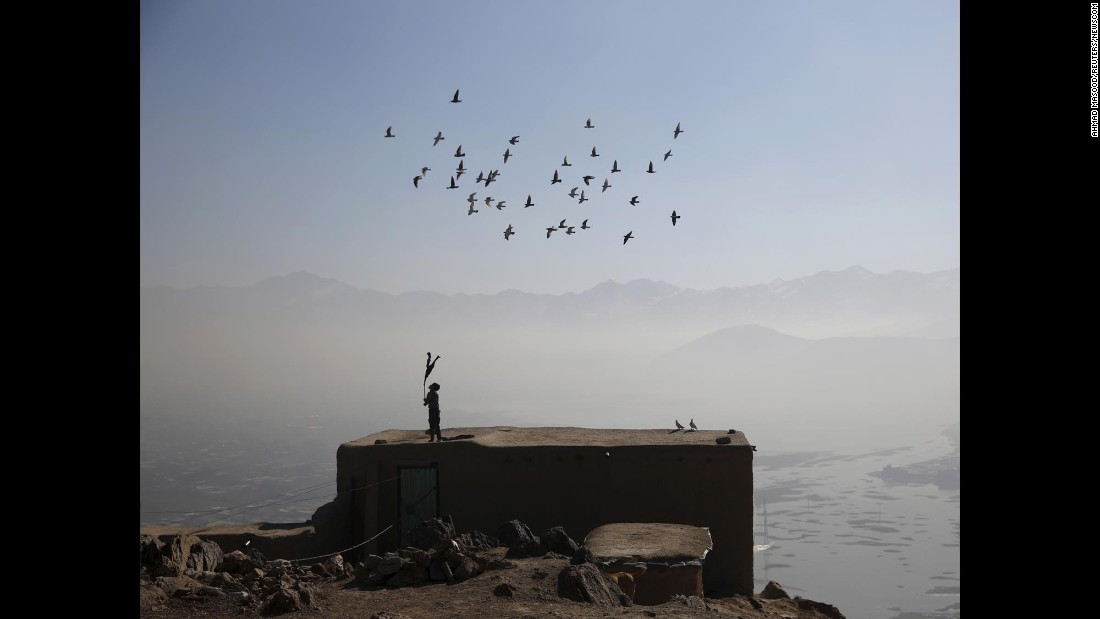 A boy wields a stick as his domesticated pigeons fly atop the roof of his house in Kabul, Afghanistan, on Tuesday, January 19.