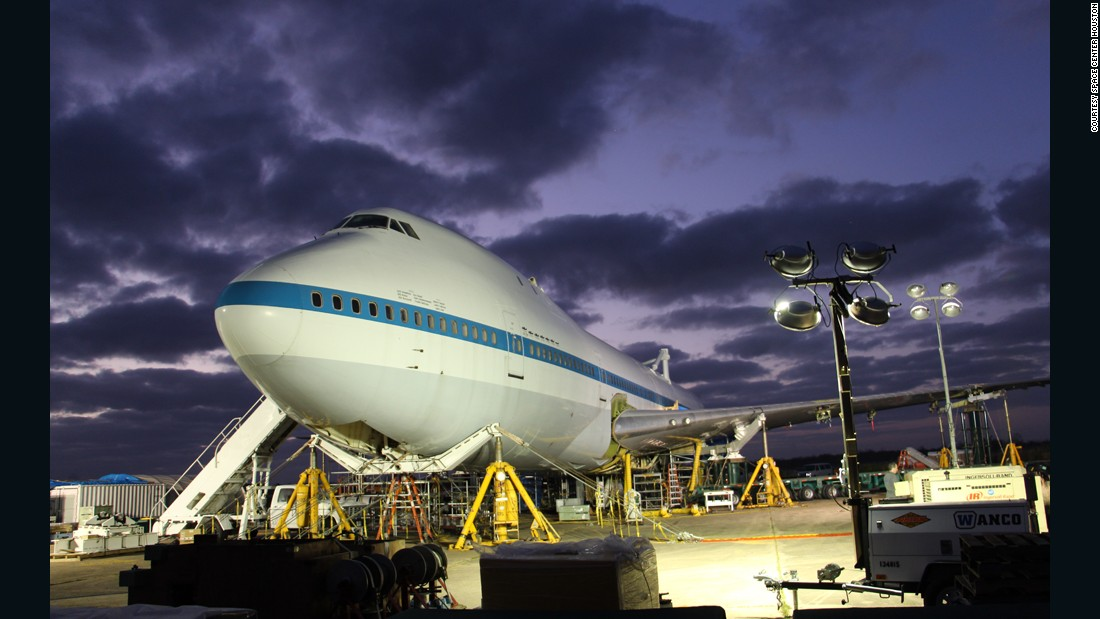 """To transfer NASA 905 from Houston's Ellington Airport 8 miles to Space Center Houston, the jet was dismantled into seven major loads. Once reassembled, it was moved during an event that organizers called """"The Big Move."""""""