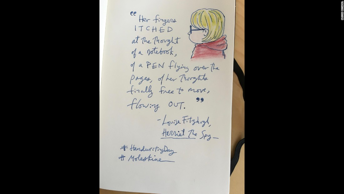 "Cartoonist and writer Alison Bechdel quotes from Louise Fitzhugh's ""Harriet the Spy"" in her #handwritingday offering."