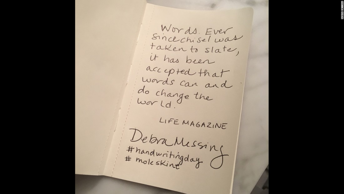 "Actress Debra Messing copies an inspiring quote on the written word from ""Life"" magazine."