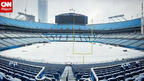 """A lot going on here, getting ready for the NFC Championship Game here Sunday,"" Jason Bastian, the Carolina Panthers entertainment coordinator, said of Charlotte's Bank of America Stadium."