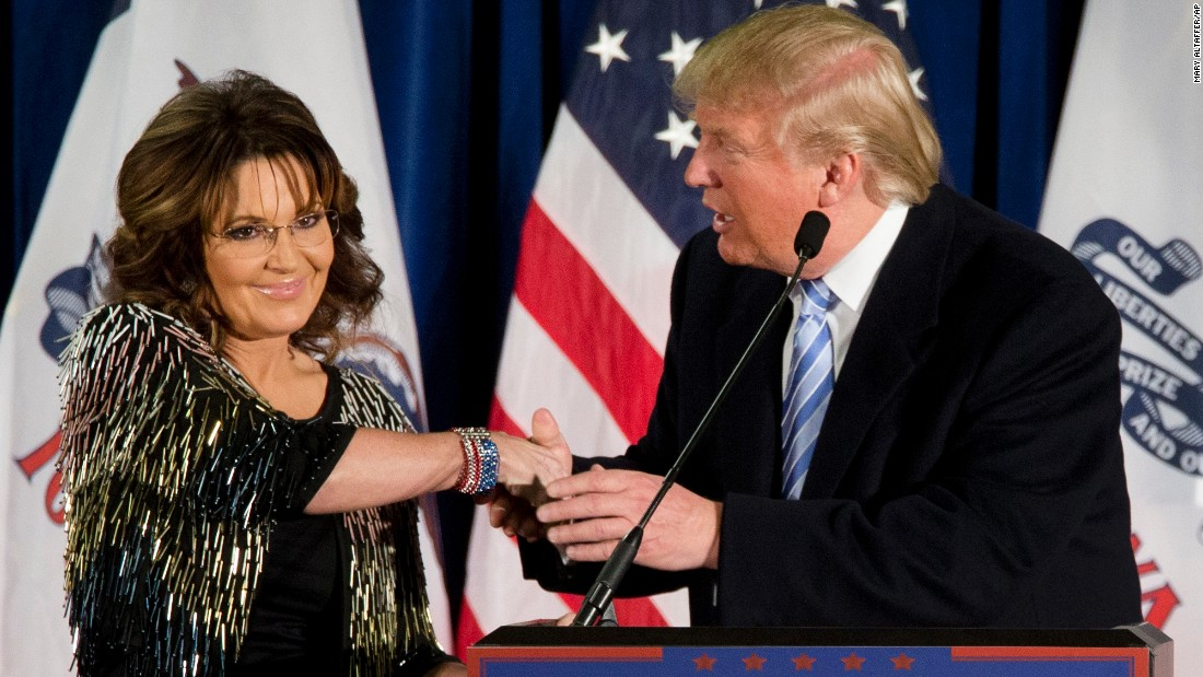 "Republican presidential candidate Donald Trump shakes the hand of former Alaska Gov. Sarah Palin after <a href=""http://www.cnn.com/2016/01/19/politics/donald-trump-endorsement-sarah-palin/index.html"" target=""_blank"">she endorsed him</a> Tuesday, January 19, in Ames, Iowa."