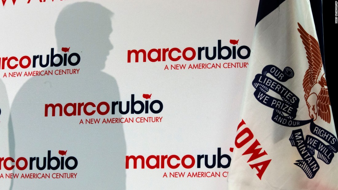 The shadow of U.S. Sen. Marco Rubio, a Republican presidential candidate, is seen as he speaks during a town-hall meeting in Ottumwa, Iowa, on Monday, January 18.