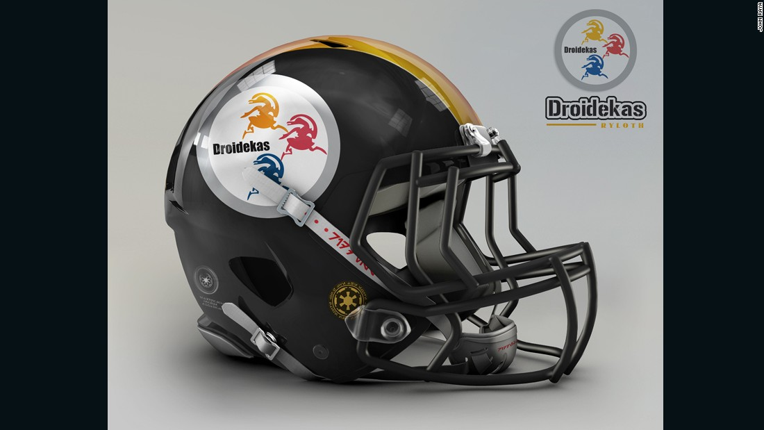 "These fearsome battle droids, prominently featured in the prequel trilogy, are a good fit for the<a href=""http://www.steelers.com/"" target=""_blank""> Pittsburgh Steelers</a>, whose logo <a href=""http://www.steelers.com/history/logo-history.html"" target=""_blank"">originally referenced </a>the Steelmark logo of the American Iron and Steel Institute."