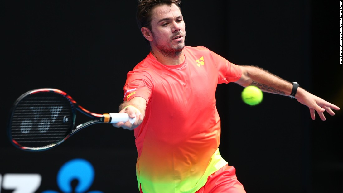The Swiss star swept to victory over Lukas Rosol in straight sets. He later joked with the crowd that it would be impossible to miss him in such vibrant attire.