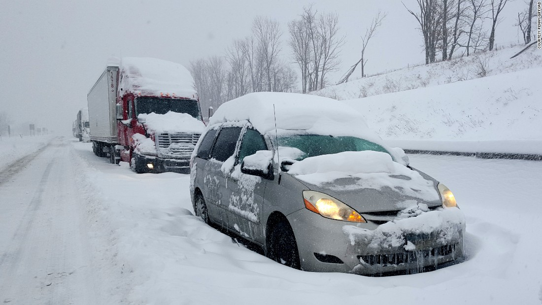 A line of cars and trucks were stuck along the Pennsylvania Turnpike on January 23.