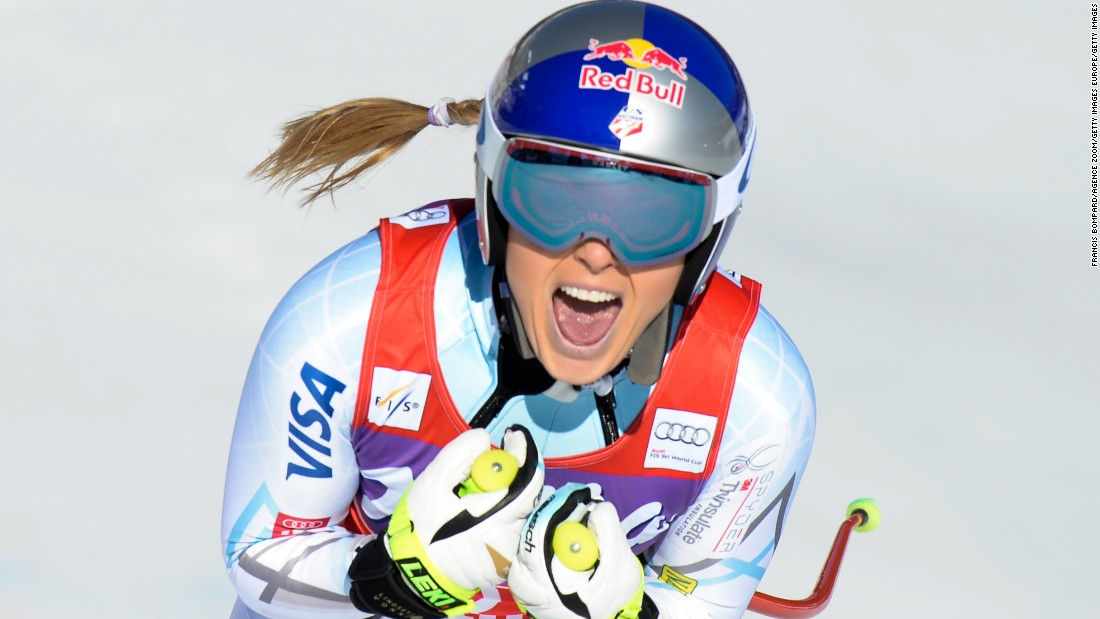 Lindsey Vonn screams with joy after clocking a time of one minute and 37.01 seconds in the women's World Cup downhill event at Cortina d'Ampezzo, Italy.
