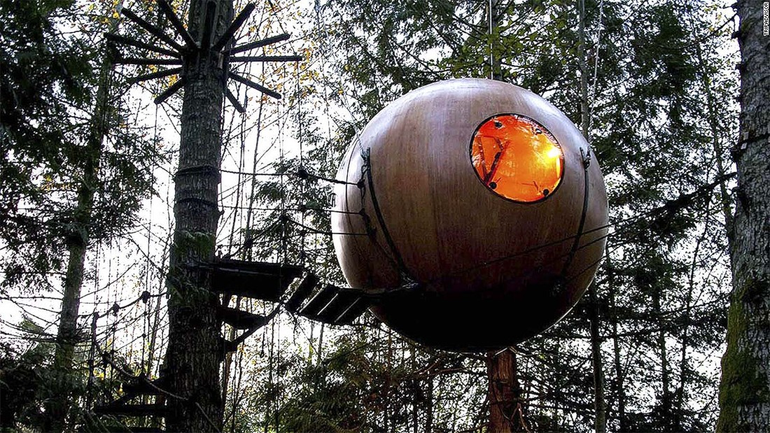 "There are tree houses for kids, then there are <a href=""http://www.tripadvisor.com/Hotel_Review-g182150-d1839091-Reviews-Free_Spirit_Spheres-Qualicum_Beach_Vancouver_Island_British_Columbia.html"" target=""_blank"">tree houses for adults</a>."