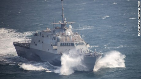 The littoral combat ship USS Fort Worth (LCS 3) transits while underway to conduct exercise Foal Eagle 2015. Foal Eagle is a series of annual training events that are defense-oriented and designed to increase readiness and maintain stability on the Korean Peninsula while strengthening the Republic of Korea-U.S. alliance and promoting regional peace and stability of the Indo-Asia-Pacific region. (U.S. Navy photo by Mass Communication Specialist 2nd Class Daniel M. Young/Released)