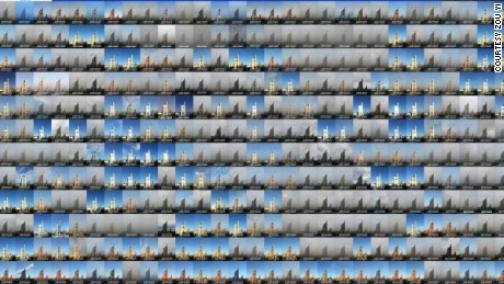A composite of 365 images taken by Zou Yi from his home in Beijing in 2014.