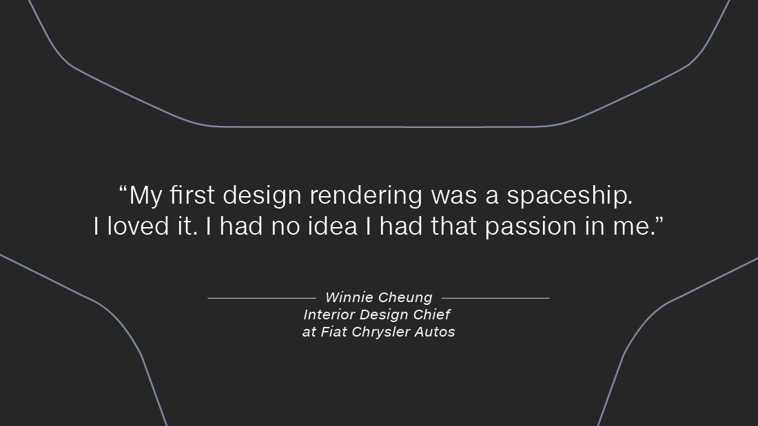 "Cheung was a graphic design and fine arts student at the Art Center College of Design, in California, when the chance came up to take transportation classes. ""I was so nervous, I wanted to vomit,"" she recalls, ""my first design rendering was a spaceship -- I loved it -- I had no that idea I had that passion in me."""