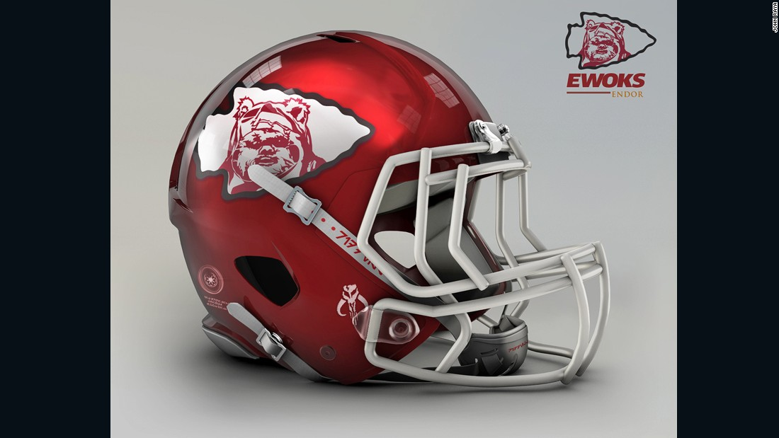 "The arrowhead from the <a href=""http://www.chiefs.com/"" target=""_blank"">Kansas City Chiefs</a> helmet looks just like those used by the furry Ewoks to pester Stormtroopers during the epic battle of Endor, which seals the fate of the galaxy in Return of the Jedi."