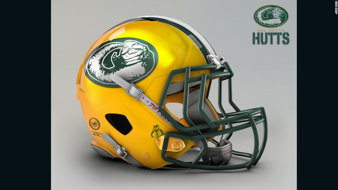 "Easily shaped into a giant ""G,"" the slimy piece of worm-ridden filth (Han Solo's words, not ours) known as Jabba the Hutt becomes quite the physical feature of the reimagined helmet for the <a href=""http://www.packers.com/"" target=""_blank"">Green Bay Packers.</a>"
