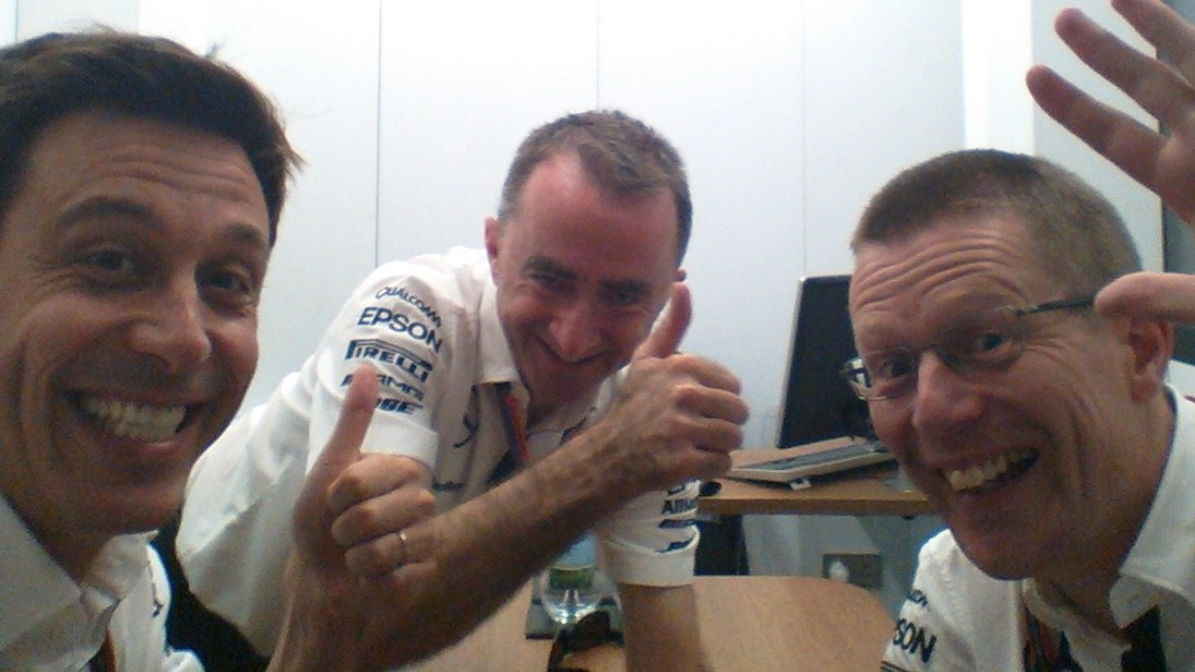 """Me and my two favorite nerds""-- is the amusing offering from Mercedes principal Toto Wolff (left) who snapped the champion team's technical director Paddy Lowe (center) and engine department boss Andy Cowell (right) at the 2015 Italian Grand Prix."