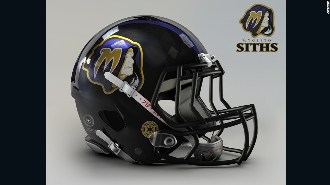 "The <a href=""http://www.baltimoreravens.com/"" target=""_blank"">Baltimore Ravens</a> are not your average pretty team. The intimidating mix of purple and black just screams Dark Side, so it's not surprising to see the evil Emperor emblazoned on this helmet."